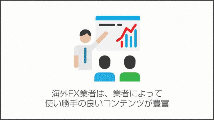 理由その4.海外FX業者は、業者によって使い勝手の良いコンテンツが豊富