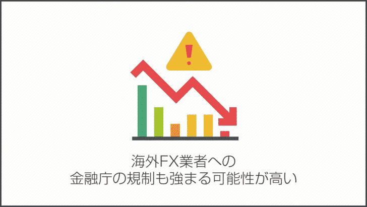 注意しなければならないのは、海外FX業者への金融庁の規制も強まる可能性が高い
