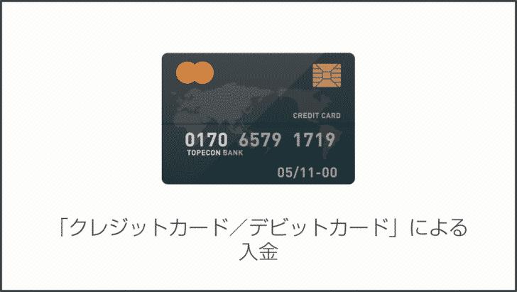 3.「クレジットカード/デビットカード」による入金