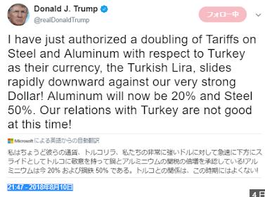 出来事その3.トランプ氏が関税引き上げツイート